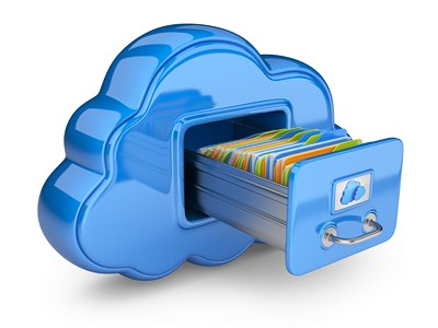 File storage in cloud. 3D icon